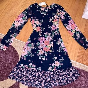 H&M Fit & Flare Navy Floral Fitted Backless Dress